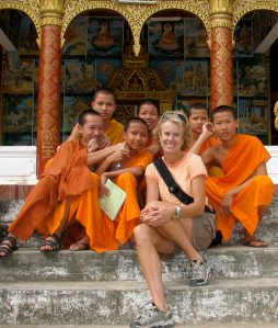 Kathy with Monks Loas